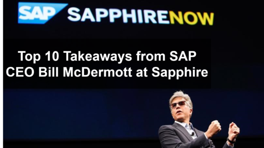 "Picture of SAP CEO on stage with text ""Top 10 Takeaways from SAP CEO Bill McDermott at Sapphire"""
