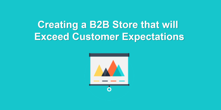 """Image with e-commerce icon and text saying """"Creating a B2B Store That will Exceed Customer Expectations"""""""