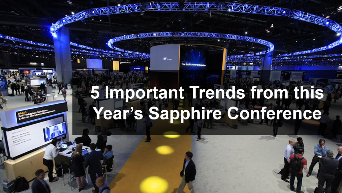 """Sapphire Conference in background with text """"5 important trends from this year's sapphire conference"""""""