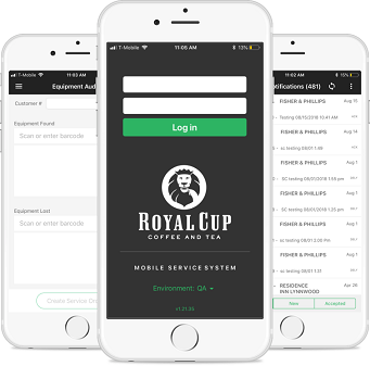 Phones showing the Royal Cup Mobile SAP APP