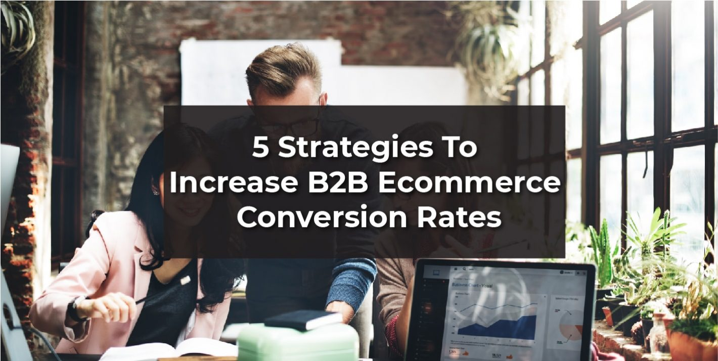 "Image of business Professionals with text ""5 strategies to increase b2b eCommerce conversion rates"""
