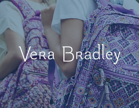 Vera Bradley Logo with bag patterns in background