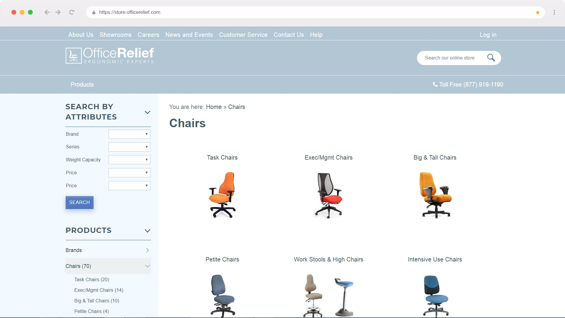 Screen shot of the Office Relief real time SAP web store designed by CNBS Software
