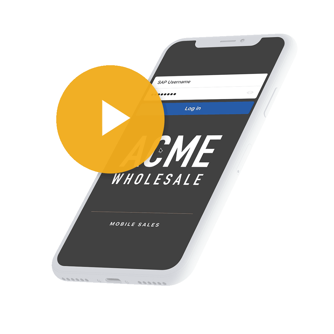 SAP Mobile APP IPhone Mockup with Play button for video